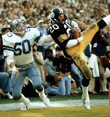 Rocky scoring a go-ahead touchdown in Super Bowl 13, just before halftime.