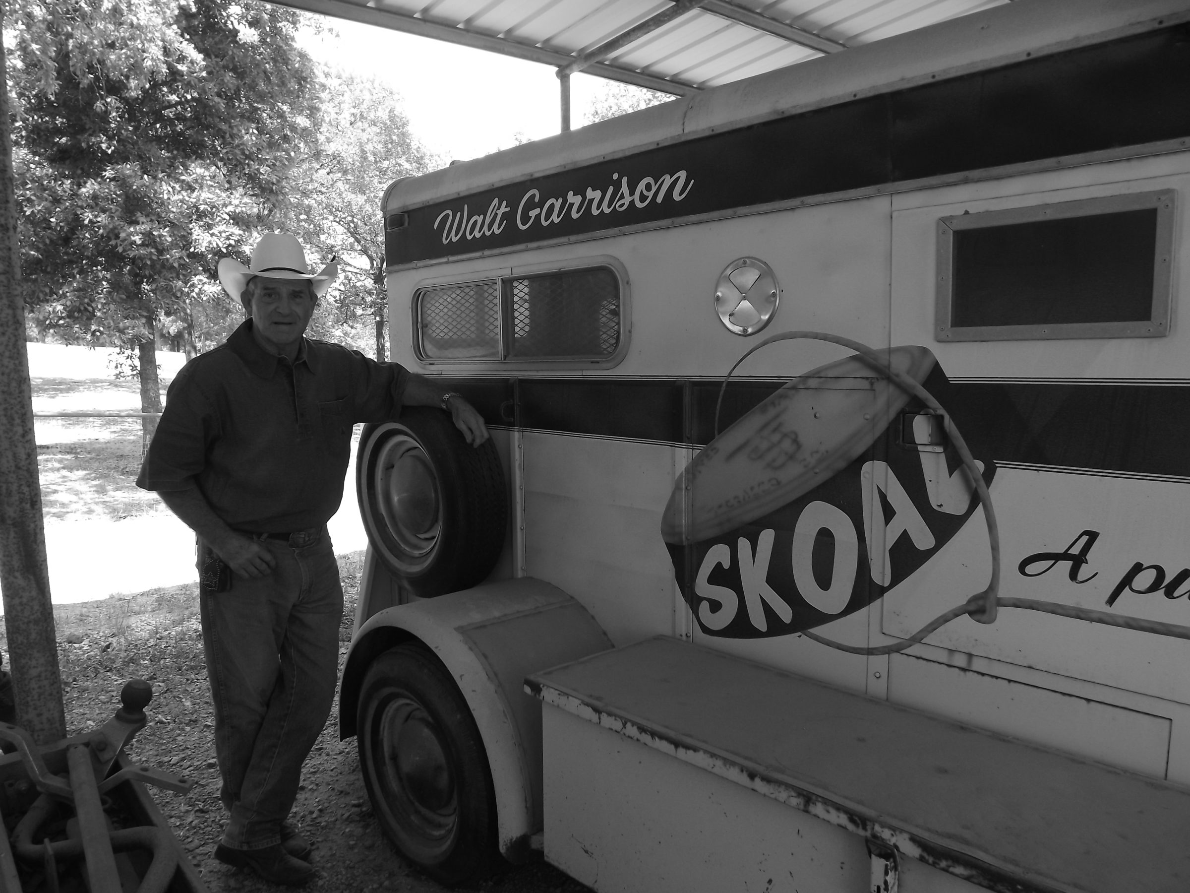 Walt  Garrison with horse trailer he got in his Dallas Cowboys rookie contract.