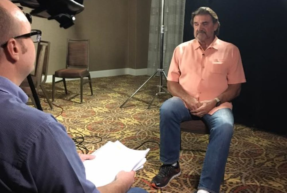 Houston Oilers quarterback Dan Pastorini on set of 1970s NFL documentary.
